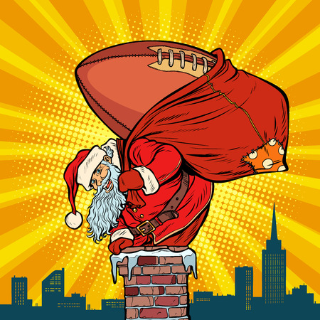 American football ball. Santa Claus with gifts climbs into the chimney. Christmas and new year. Pop art retro vector illustration vintage kitsch