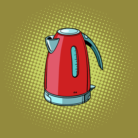 Electric kettle, kitchen equipment. Pop art retro vector illustration vintage kitsch