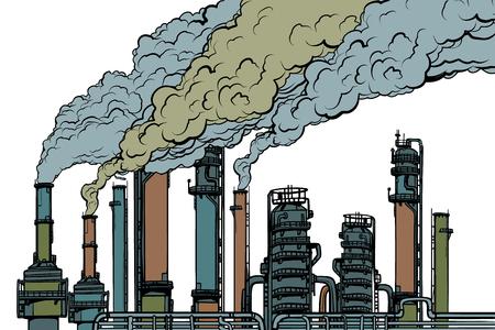 Humo de fábrica de pipas químicas. Ecología e industria. Aislado sobre fondo blanco. Arte pop retro ilustración vectorial dibujo kitsch vintage Ilustración de vector