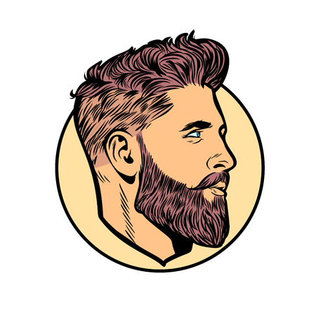 men hipster face profile. Pop art retro vector illustration vintage kitsch  イラスト・ベクター素材