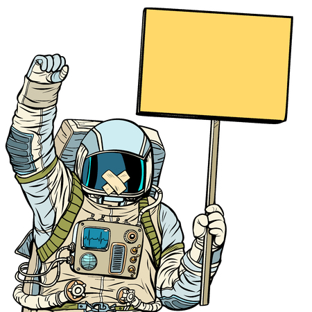 Astronaut with gag protesting. Isolate on white background Çizim