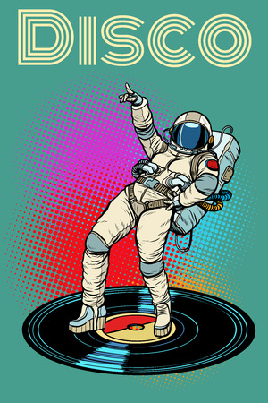 Disco. Woman astronaut dancing Illustration