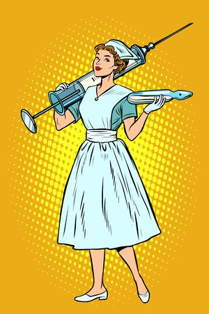 Infermiera con la siringa. Pop art retrò illustrazione vettoriale vintage kitsch Vettoriali
