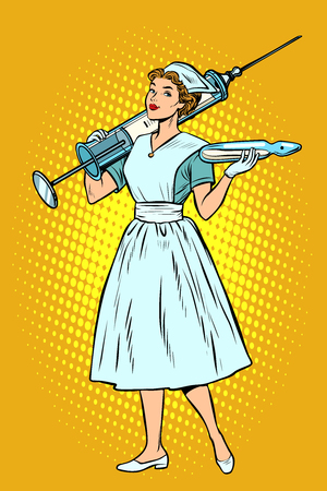 Nurse with syringe. Pop art retro vector illustration vintage kitsch Çizim
