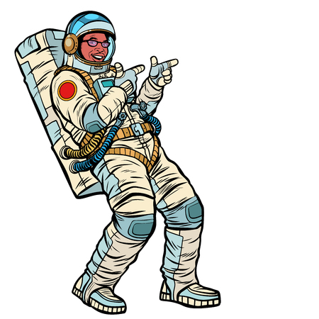 Astronaut young man points. isolate on a white background. Afric