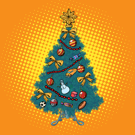Christmas tree with decorations. Pop art retro vector illustration vintage kitsch