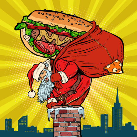 Santa Claus with a hot dog climbs the chimney. Food delivery. Pop art retro vector illustration vintage kitsch drawing Ilustracja