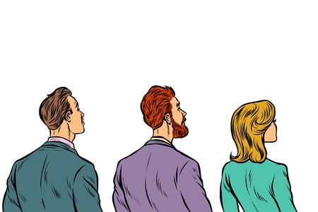 Les gens prennent du recul. Pop art rétro vector illustration kitsch vintage