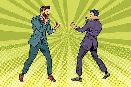 Two men businessman fighting. Pop art retro vector illustration kitsch vintage