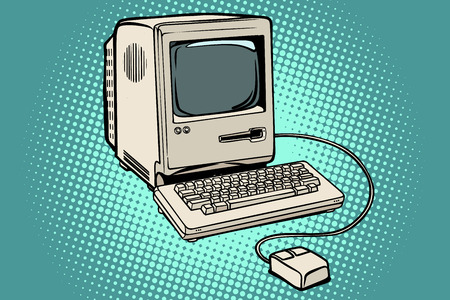 Retro computer monitor keyboard and mouse. Pop art retro vector illustration kitsch vintage