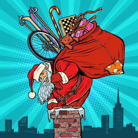Activities and games. Santa Claus with gifts climbs into the chimney. Christmas and new year. Pop art retro vector illustration vintage kitsch Ilustracja