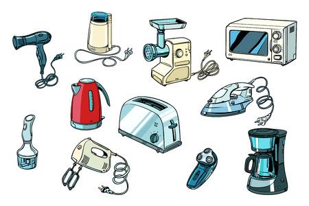 elektronarzędzia do kuchni i domu. Pop-art retro wektor ilustracja vintage kicz