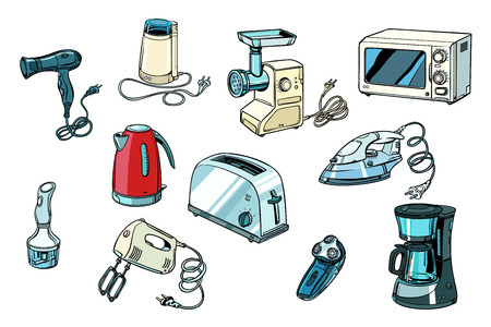 herramientas eléctricas para cocina y hogar. Pop art retro vector ilustración vintage kitsch