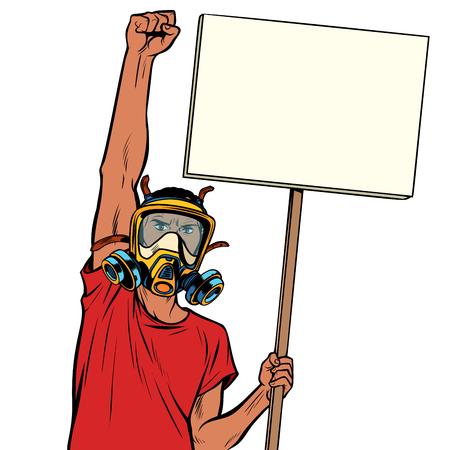 L'uomo africano protesta contro l'aria inquinata, l'ecologia e l'ambiente. isolare su sfondo bianco. Disegno kitsch vintage illustrazione vettoriale retrò pop art