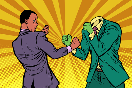 African man fights with the green monster. Pop art retro vector illustration kitsch vintage