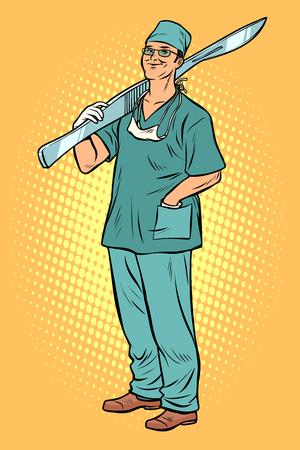 male surgeon with scalpel. Pop art retro vector illustration vintage kitsch