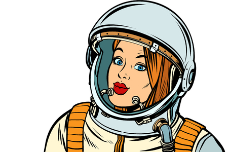 serious woman astronaut. Isolate on a white background