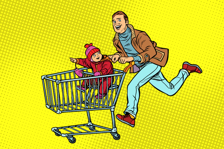 dad and son are on sale. shopping cart shop trolley. Pop art retro vector illustration vintage kitsch 일러스트