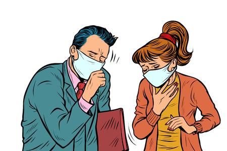 hombre y mujer con máscaras, aire sucio, infección por enfermedad. Arte pop retro ilustración vectorial dibujo kitsch vintage