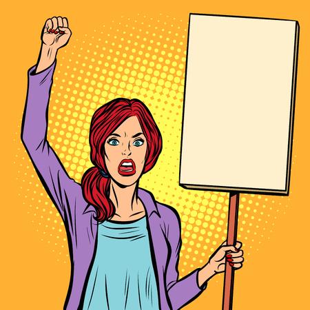 Frau, die mit einem Plakat protestiert. Politischer Aktivist bei der Kundgebung. Pop-Art Retro-Vektor-Illustration Vintage-Kitsch