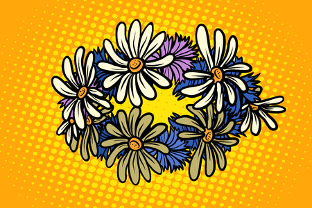 wreath of wild flowers chamomile. Pop art retro vector illustration kitsch vintage Vectores