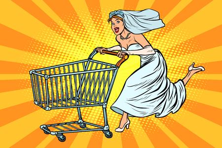 The bride runs for wedding shopping. Pop art retro vector illustration vintage kitsch