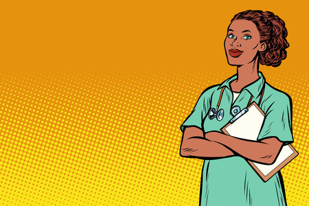 African nurse. Medicine and health. Pop art retro vector illustration vintage kitsch