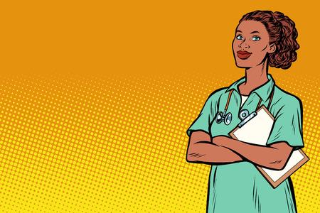 Enfermera africana. Medicina y salud. Pop art retro vector ilustración vintage kitsch