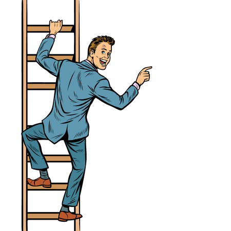 businessman climbs stairs, man points to copy space. isolate on white background. Pop art retro vector illustration vintage kitsch Illustration