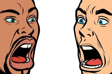 hombre grito cara. Personas africanas y caucásicas. Ilustración de vector retro pop art kitsch vintage
