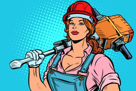 pop art women road worker Builder with jackhammer, retro vector illustration vintage kitsch