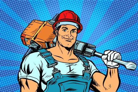 trabajador con un martillo neumático. Pop art retro vector ilustración vintage kitsch Ilustración de vector