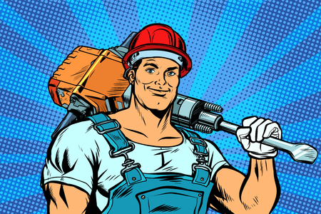 worker with a jackhammer. Pop art retro vector illustration vintage kitsch Çizim