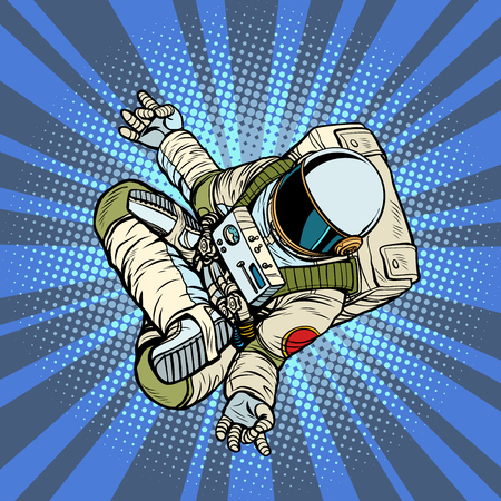 astronaut the yoga Lotus position. Top view. Pop art retro vector illustration kitsch vintage Illustration