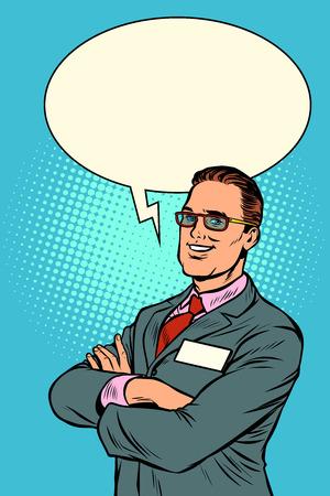 Confident businessman says. Comic bubble. Pop art retro vector illustration vintage kitsch Illustration
