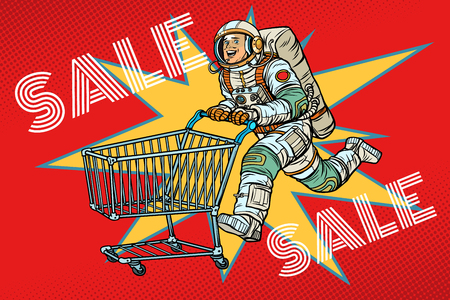 Astronaut zum Verkauf. Einkaufswagenwagen. Vintage-Kitsch der Retro-Vektorillustration der Pop-Art