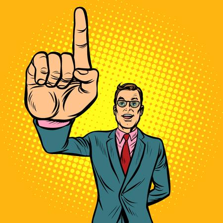 attention gesture man. index finger up. Pop art retro illustration vintage kitsch drawing