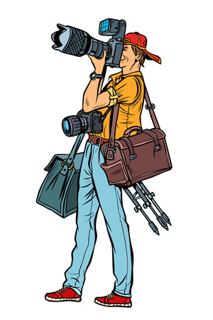 Professional photographer with camera and equipment. Isolate on white background. Pop art retro vector illustration vintage kitsch