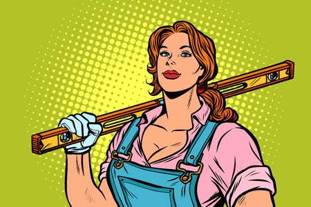 female construction worker with level. Pop art retro vector illustration vintage kitsch