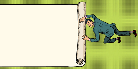 man unfolds folds paper background copy space. Pop art retro illustration vintage kitsch drawing