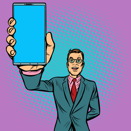 businessman shows a smartphone. Gadgets and technologies. Pop art retro illustration vintage kitsch drawing