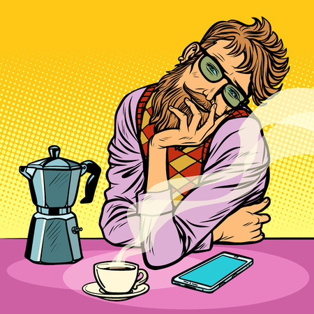 hipster man morning coffee. Pop art retro vector illustration vintage kitsch