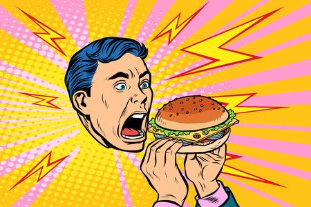 hombre comiendo hamburguesa. Ilustración de vector retro pop art kitsch vintage