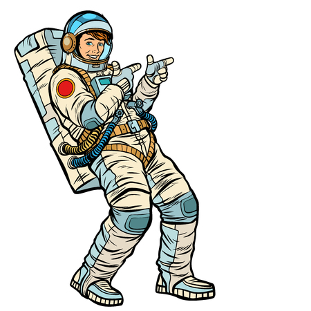 Astronaut young man points. isolate on a white background. Pop art retro vector illustration kitsch vintage drawing