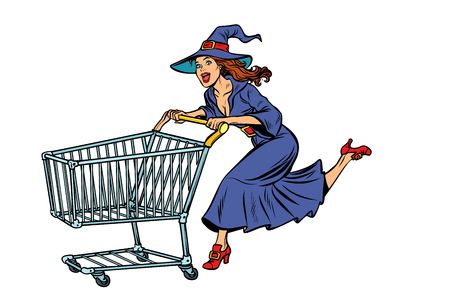 Halloween witch. isolate on white background. shopping cart trolley sale. Pop art retro vector illustration vintage kitsch Иллюстрация