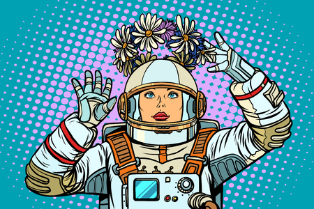 Life and spring concept. A wreath in the weightlessness of an astronaut woman. Pop art retro vector illustration kitsch vintage 向量圖像
