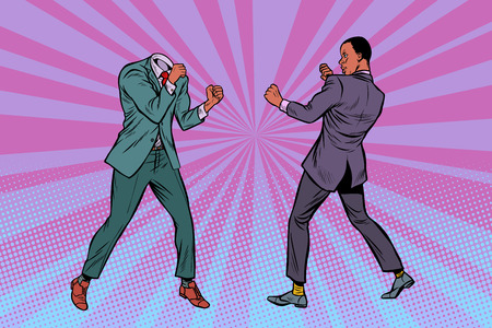 Two men businessman fighting. Pattern without head. African American people. Pop art retro vector illustration kitsch vintage Illustration