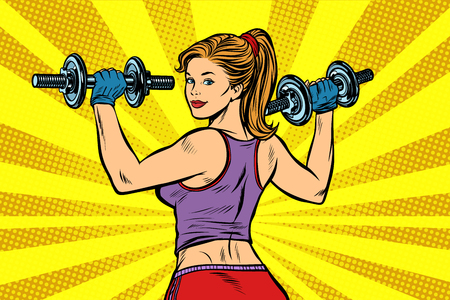 Sporty woman with dumbbells. Pop art retro illustration vintage kitsch drawing