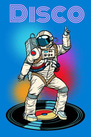 Disco. Astronaut dances. Pop art retro vector illustration vintage kitsch