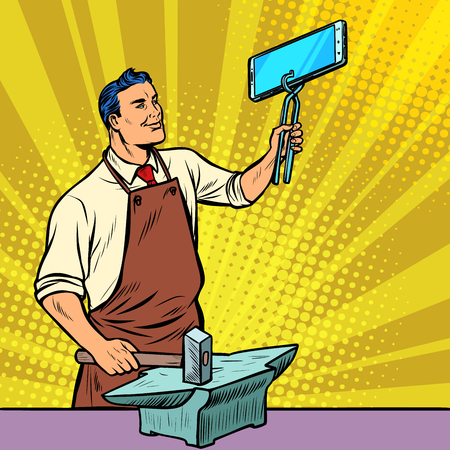 Businessman blacksmith forges smartphone on anvil. Gadgets and technologies. Pop art retro illustration vintage kitsch drawing Illustration